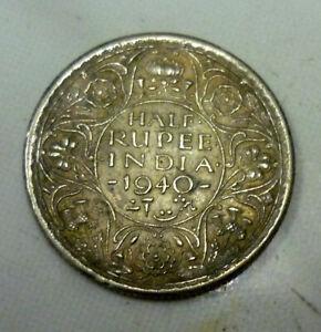 British India 1940 - 1/2 Rupee George VI Silver Uncleaned 'EF'.