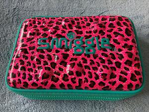 Smiggle Pink Leopard Print Double Zip Pencil Case