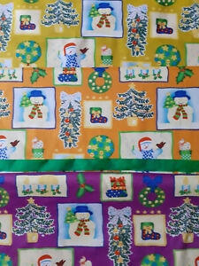 LOT  COUPONS TISSUS NOEL EN COTON VIOLET JAUNE ORANGE et RUBAN VERT