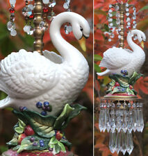 Swan Bird Swag Lamp Chandelier Glass brass porcelain Opaline fruit Wedding decor