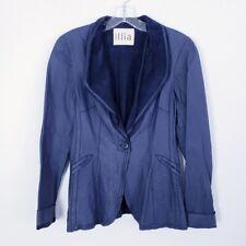 Anthropologie Illia Women's Blue Leather Blazer Jacket Medium