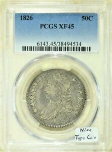 1826 Capped Bust Half Dollar PCGS XF-45; Nice Type Coin!