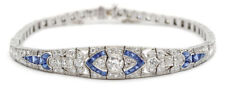 Sapphire Studded 5.05 CT And Diamond Art Deco Bracelet In 14K White Gold Over
