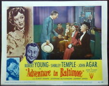 Shirley Temple 1940s Original Lobby Card Adventure in Baltimore John Agar