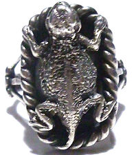 LARGE MEXICO MEXICAN BIKER RING STERLING SILVER LIZARD DRAGON SHIELD RING 12.75