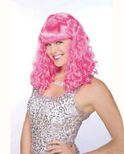 Womens Pink Wavy Bangs Wig Halloween Costume Accessory
