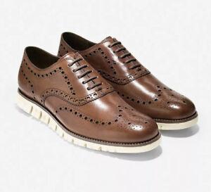 Cole Haan ZeroGrand Wingtip Oxford Shoes Brown British Tan C14493 Men's 10 M