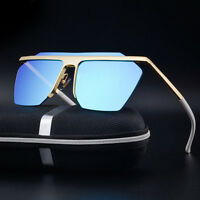 Vintage Retro Oversized Half frame Aviator Sunglasses Men's Eyewear Eye Glasses