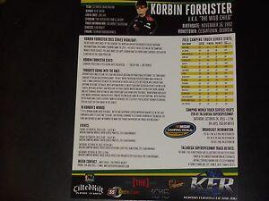 """2015 KORBIN FORRISTER #08 """"TALLADEGA"""" TILTED KILT STAT SHEET B/B NASCAR POSTCARD"""