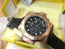 23104 Invicta Akula Men's 52mm Quartz Rose-Gold Plated Case Leather Strap Watch