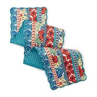 Pioneer Woman Dazzling Dahlias Runner Quilted Scallop Reversible Teal Floral