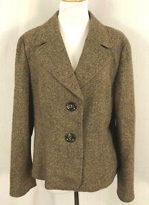 Talbots Womens Blazer Browns Buttons Medium Weight Lined Wool Silk Acrylic 18