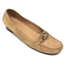 Women's Stuart Weitzman Horsebit Loafers Shoes Size 8M Brown Suede Slip On AI7