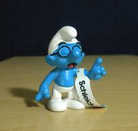 Smurfs 20536 Classic Brainy Smurf Black Glasses Vintage Figure Toy PVC Figurine