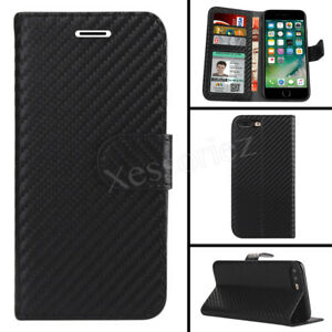 Case For iPhone 6 7 8 Plus XS Max Carbon Fiber Magntic Flip Wallet Leather Cover