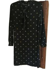 M and S dress navy print pussy bow size 10