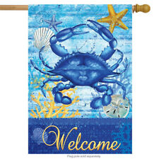 "Blue Crab Welcome Summer House Flag Nautical Starfish Seashells 28"" x 40"""