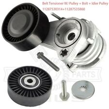 Belt Tensioner W/ Pulley + Bolt + Idler Pulley For BMW E60 E90 325 328 525 528