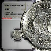Sweden Gustaf V (1908-1950) Silver 1911 W 10 Ore NGC MS61 KM# 780