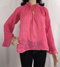 Esprit Chemise Blouse Medium Semi-Sheer Rose Pink Crinkle Shirt Bohemian Style