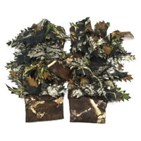 AM_ 1 Pair 3D Leaves Camouflage Breathable Sport Hunting Fishing Full Finger Glo