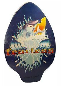 Vtg Skim Lizard Surf/Boogie Board Wood. Fearless, Shark Surfing. Michael Searle