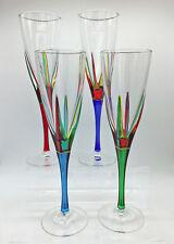 """POSITANO"" CHAMPAGNE FLUTES - SET/4 - HAND PAINTED VENETIAN GLASSWARE"