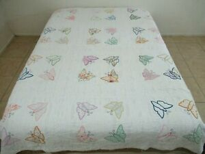 IN MUCH USED CONDITION Vintage All Cotton Hand Sewn Applique BUTTERFLY Quilt