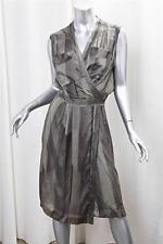DRIES VAN NOTEN Womens Gray Silk Striped Sleeveless Knee-Length Wrap Dress 38/6