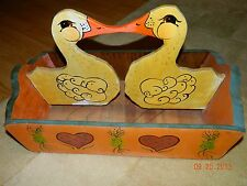 Vintage Wood Duck Basket/Magazine rack Handpainted Folkart