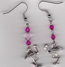 FLAMINGO Earrings-Tibetan Silver Charm and Pink Swarovski Beads