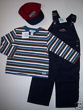 NWT Janie & Jack Racing Team 2T Vintage Car Corduroy Overalls Stripe Shirt & Hat