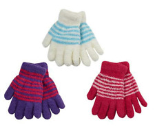 Girls Gloves Bright Fluffy Weather Winter Thermal Soft Magic Striped Pick Colour