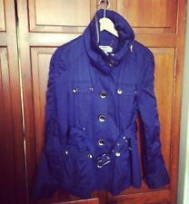 HAWKE & CO Indigo Blue Cotton Blend Gold Button Belted Jacket Trench With Hood L