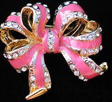 PINK RHINESTONE BREAST CANCER VALENTINES DAY BIRTHDAY CELEBRATE BOW PIN BROOCH