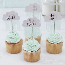 HELLO WORLD BABY SHOWER CAKE TOPPERS x10-Cupcake Decorations/Picks-RANGE IN SHOP