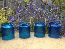 Blue Hanging glass jar tea light lantern Garden Lights Bbq party wedding