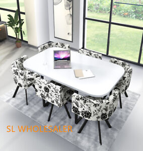 White  Wooden  Dining Table & 6 Chairs Rretro...
