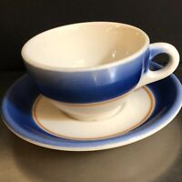 Syracuse China Restaurant Ware Cup Saucer Blue Airbrush Orange Stripe Made USA
