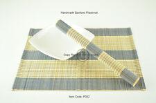 4 Bamboo Placemats, Handmade Table Mats, Blue - Cream (Light Brown), P002