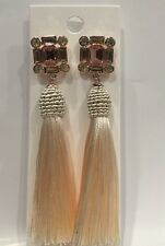 Express Ivory Tassel Long Silk Thread Fringe Dangle Earring-Pink&white Crystals