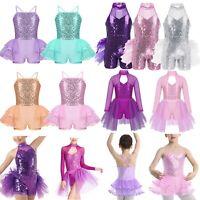 Kids Girls Lyrical Dress Contemporary Ballet Dance Leotard Gymnastics Costume