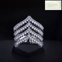 Swarovski Crystals 18k White Gold Plated Engagement Wish Bone Ring Size 6 7 8 9