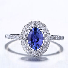 Oval Tanzanite Real Diamond Engagement Wedding Ring Solid 10K White Gold Jewelry