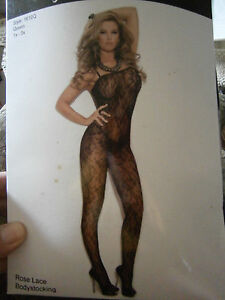 Elegant Moments Rose Lace Bodystocking Crotchless Black Large XL PRIVATE LISTING