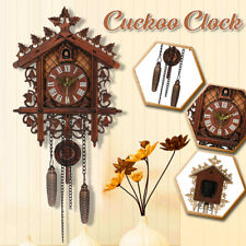 Vintage Handcraft Wood Cuckoo Clock Tree House Swing Wall Clock Art Home Decor