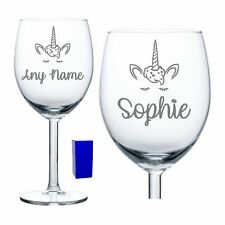 Personalised Unicorn Wine Glass For Her Birthday Gift 18th 21st 30th 40th Gift