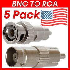 5 Pcs BNC to RCA Adapter Coaxial Cable Converter CCTV Camera Connector Plug/Jack
