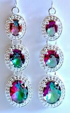 Pretty pair of Long Mystic Topaz Earrings, 925 Silver Hooks