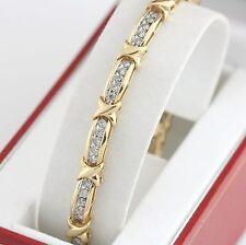"14K YG 2.40 CTW Diamond Bar & X Link Tennis Bracelet 7"" 2 1/3 CT with App $4510"